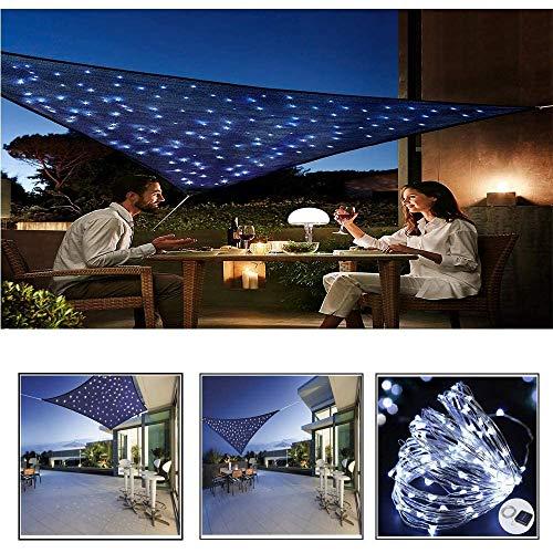 ZHENN Rechteckig Sonnensege SonnenschutzSegel Mit Eingebaut LED wasserdichte Lichterkette, UV Schutz Schattenspender Pergolaabdeckung Tuch Blau,Blau,4×4m