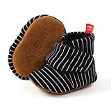 FEAMODAL Newborn Infant Baby Boys Girl Cozy Fleece Booties Soft Non Skid Boots with Grippers Toddler First Walkers Winter Ankle Crib Shoes(0-6 Months,01 black)