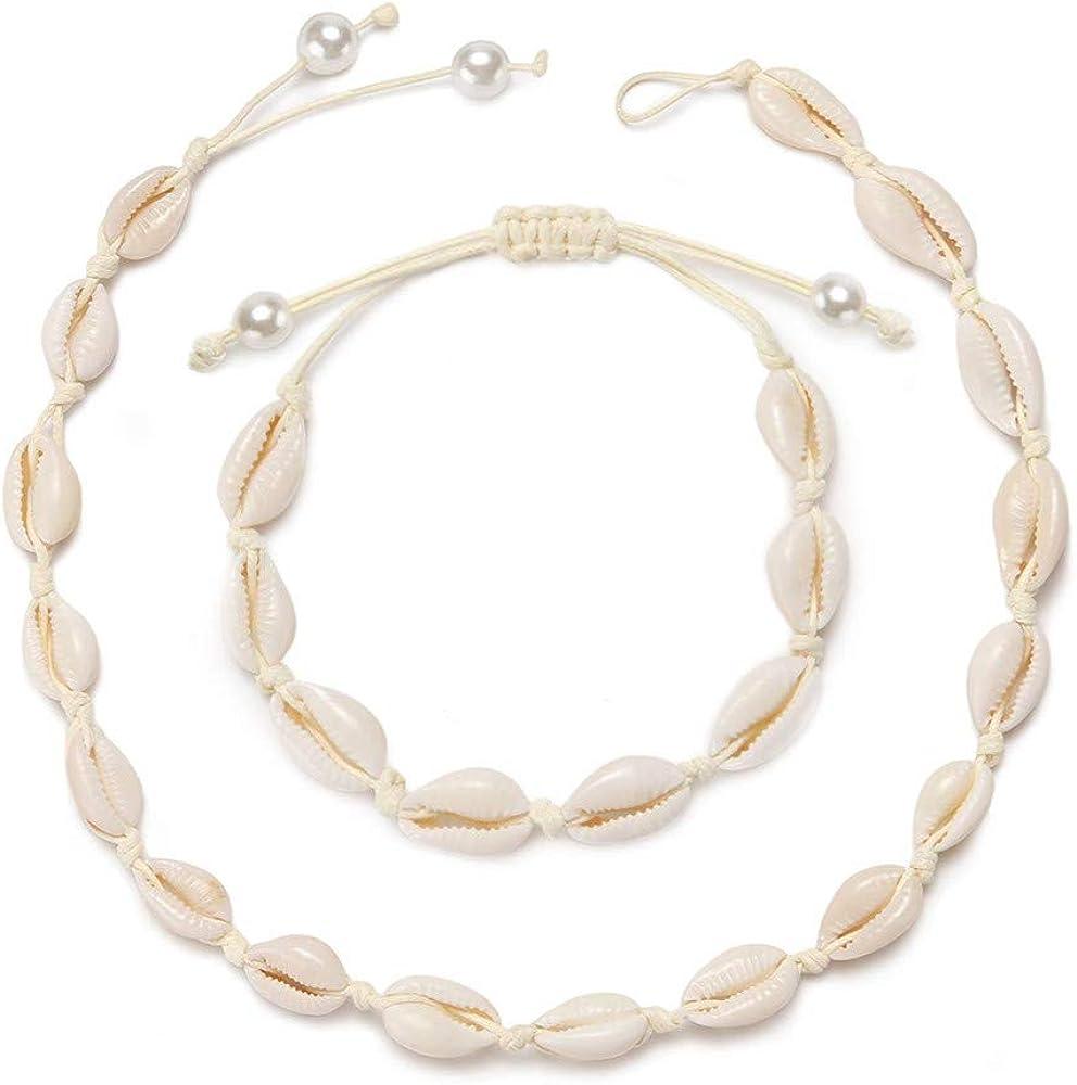 Jierong Women's Fashion Shell Choker Necklace Mixed 3 Strands Puka Chip Shell Necklace Hawaii Beach Cowrie Seashell Necklace Pearl Choker Necklace Jewelry for Women Men (3 Strands Choker Set)