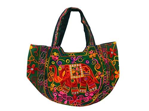 indischerbasar.de - Sac à Main en Coton Vert Broderies Multicolores miroirs Accessoire de Mode Cabas de Plage