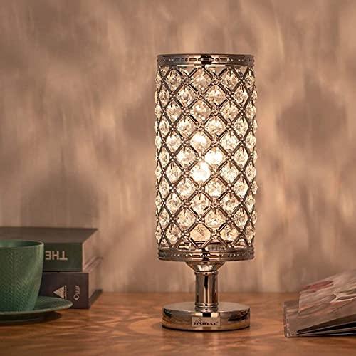 Lámpara de techo, luz de baño Lámpara de mesa de cristal, lámpara de escritorio de mesa de noche moderna, 1 luz, lámpara de mesa de noche de metal para dormitorio, sala de estar, oficina, acabado crom