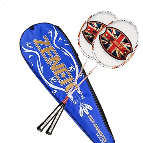 HiXB Carbon Badminton SchläGer Professionelles Niveau Produktliste 2 SchläGer/3 Badminton/Tragbarer Koffer Geeignet FüR Erwachsene Kinder Training Wettbewerb