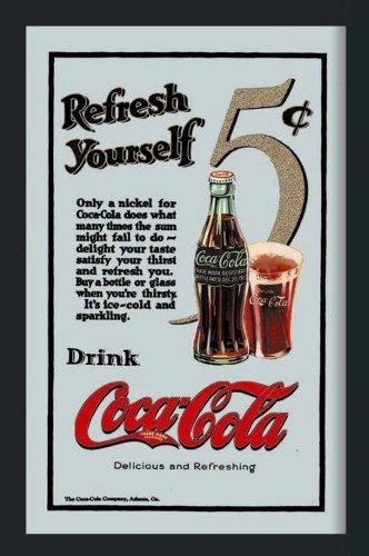 empireposter Coca Cola Refresh Yourself - Bedruckter Spiegel mit Kunststoff Rahmen in Holzoptik, Kult-Spiegel - Größe 30x40 cm