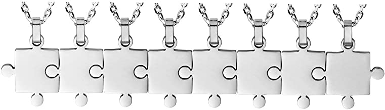 BANCHELLE Puzzle Style Necklace Best Friends Pendant Necklace Stainless Steel Jewelry (8 Pieces)