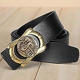 HAIPAITX Cintura con Fibbia Scorrevole dal Design Unico Cintura da Uomo in Pelle di Marca di qualità Cintura da Uomo 3,8 cm di Larghezza,Gold Buckle Black,125cm 37to40 inch