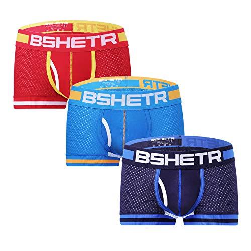Bóxers para Hombre Calzoncillos Ajustados Pack de 3 Ropa Interior Sexy de Malla Transpirabilidad Superior para Comodidad y Deportes (Pack de 3, S)