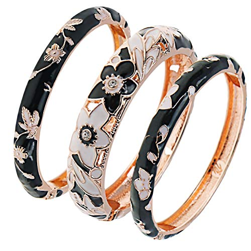 UJOY Womens Multi-colors Cloisonne Bracelet Gold Plated Flower Hollowed Enameled Hinged Cuff Bangles Jewelry Gift 88A11 black