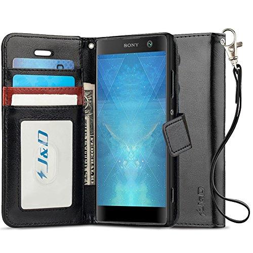 J&D Compatibile per Cover Xperia XA2, [Portafoglio Stand] [Sottile Adatta] Protettiva Robusta Antiurta Flip Custodia per Sony Xperia XA2 - [Non Compatibile con Sony Xperia XA2 Ultra] - Nero