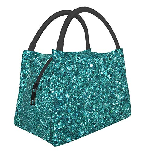 Insulated Lunch Bag Lunch Box Cooler Tote Box Cooler Bag Lunch Container Turquoise Sparkling Water-Resistant Thermal Leak-Proof Lunchbox for Work Picnic