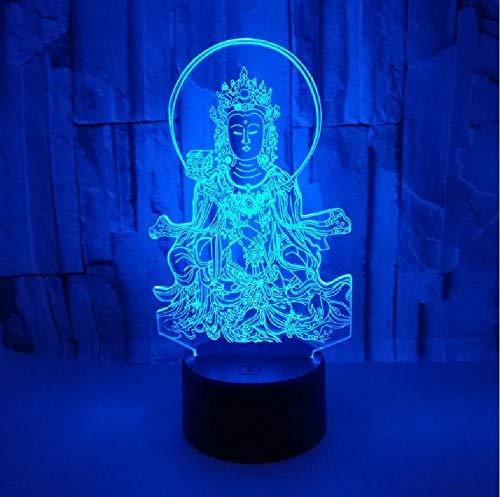 Nuevo Buda 3D Luz De Noche Pequeña Interruptor Táctil De Comercio Exterior Lámpara Encantadora De 7 Cambios De Color 3D