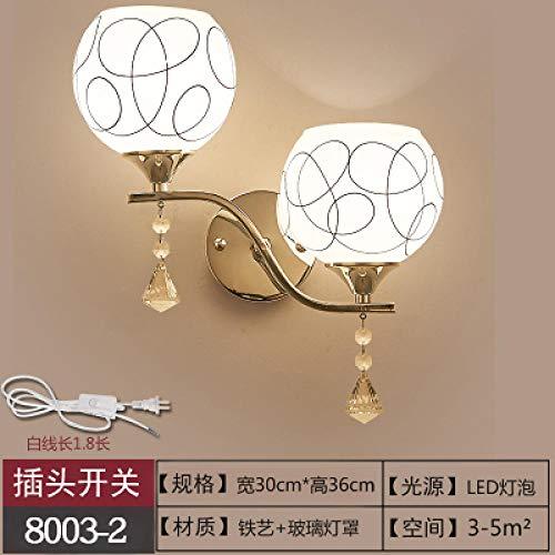 NZJSY Moderne modieuze wandlamp, interieur, wandlamp, LED, creatief, wandlamp, met stopcontact, met schakelaar, voor slaapkamer, nachtkastje, eenvoudige woonkamerlamp