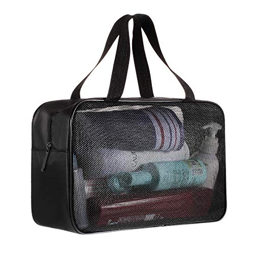 Shower Caddy Bag Organizer Portable Mesh Shower Tote Caddy for Bathroom College Dorm Camp Gym Camping Toiletry Bath for Kids Men Women guys - Quick Dry (Black)