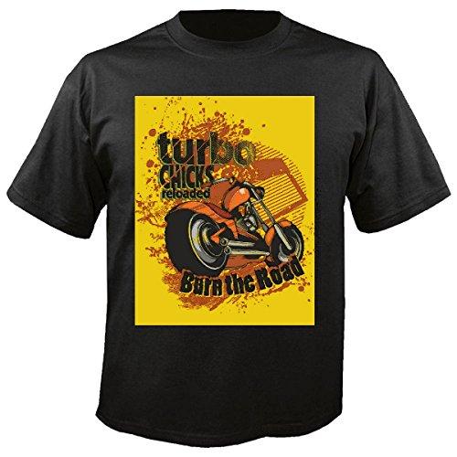 T-shirt Remera Kihns Turbo Burn The Road motorhemd motorfiets hemd met schakelaar van de doodskop Gothic Club van de motorfiets fiets route 66 inch in zwart