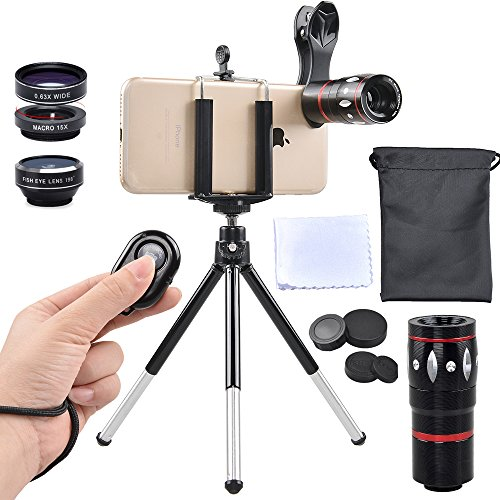 Apexel 5 in 1 Camera Lens Kit - Telephoto + Fisheye + Wide Angle & Macro + Wireless Shutter with Mini Tripod + Phone Holder for iPhone 11/XS Max/X/8/7 Plus Samsung Galaxy S10/S9 Plus OnePlus Phone