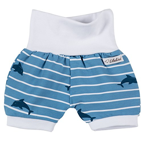 Lilakind Kurze Jungen Pumphose Shorts Buxe Sommerhose Delphine - Made in Germany, Blau Weiß, 74/80 cm