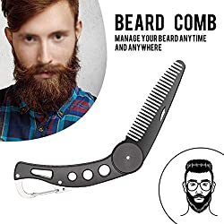 Careor beard comb made of stainless steel, foldable, for men, for grooming & combing hair, beards and mustaches, beard and mustache styling comb, foldable pocket comb