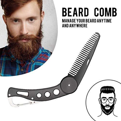 Careor- Pettine da barba pieghevole in acciaio inox, per toelettatura, pettinatura di capelli, barba e baffi, pettine pieghevole tascabile.