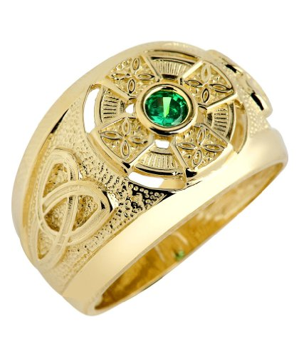 14k Yellow Gold Trinity Knot Band Created Emerald Celtic Cross Ring for Men (11)