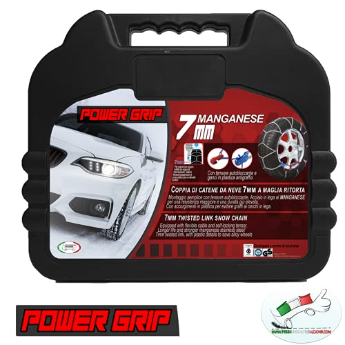 POWER GRIP Catene da Neve 7mm Omologate e Certificate TUV e GS ONORM, Gruppo 100, 07X100