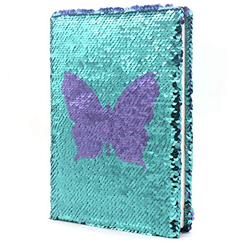 EverCreatives Magic Reversible Flip Sequin Girls Journal Purple Butterfly to Blue, Secret Kids Diary Personalized Notebook A5 Size 160 Lined Pages…