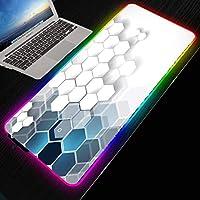 マウスパッド抽象アート白い六角形大型マウスパッドRGB LEDライトゲームアンチスリップロックエッジゲーミングマウスマット700*300 MM
