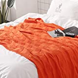 Vonty 100% Cotton Knitted Throw Blanket Decorative Cable Knit Couch Cover Blanket (47 x 70 Inches, Orange)
