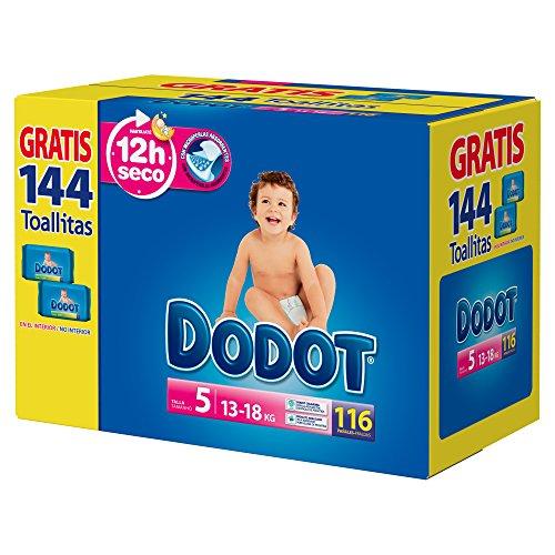 Dodot - Pannolini per neonati, 112 pannolini 11-16 kg, misura 5 + 2 confezioni di salviette gratis