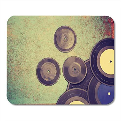 FETEAM Alfombrillas de ratón Música Negra Abstracta Disco de Vinilo Antiguo en Alfombrilla de ratón Vintage oxidada para portátiles Alfombrillas de Ordenadores de Escritorio Material de Oficina