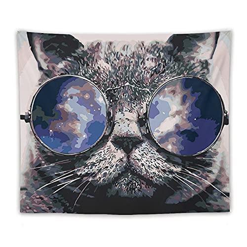 Tapiz de gato con gafas de sol para dormitorio, gato estético con gafas de sol, sala de estar, dormitorio, decoración de pared, divisor colorido