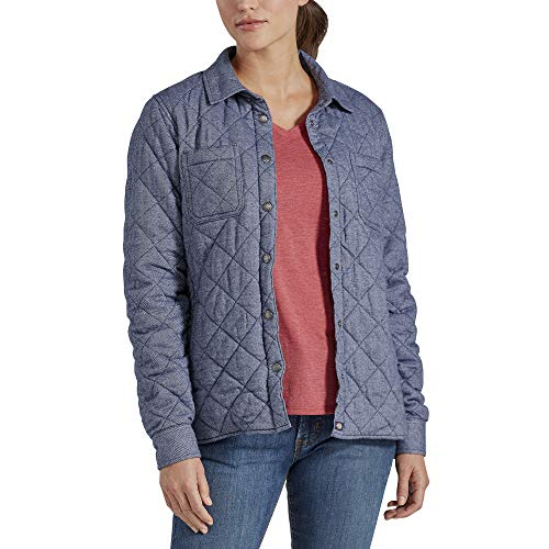 Dickies Women's Quilted Flannel Shirt Jacket, Blue Two Tone Herringbone, Extra Large