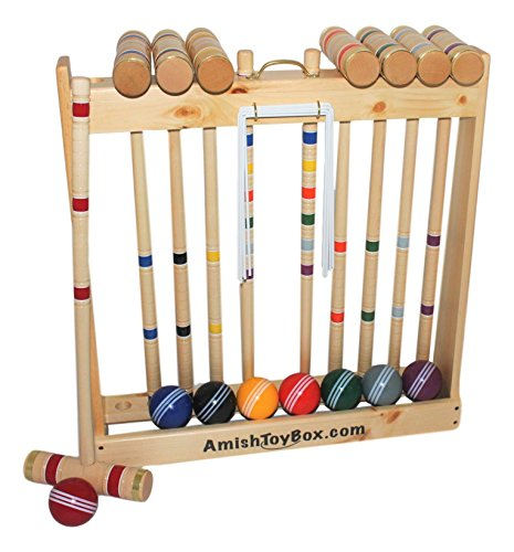 "Amish-Crafted Deluxe 8-Player Croquet Game Set, Maple Hardwood (Eight 32"" Handles)"