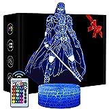Luz nocturna 3D Star Wars, 16 colores que cambian la lámpara de noche LED con control remoto y toque inteligente, regalos de Navidad y cumpleaños para niños y fans de Star Wars (Darth Vader)