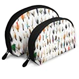 XCNGG Mosca de la trucha blanca atrapada por la trucha tradicional Bolsa de cosméticos Embrague Bolsas portátiles Organizador de bolsos con cremallera 2 uds