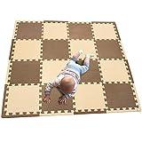 MQIAOHAM 16pcs + 16 bordes que entrelazan los niños suaves del bebé EVA Foam Activity Play Mat Floor Azulejos de café beige 106110Z16