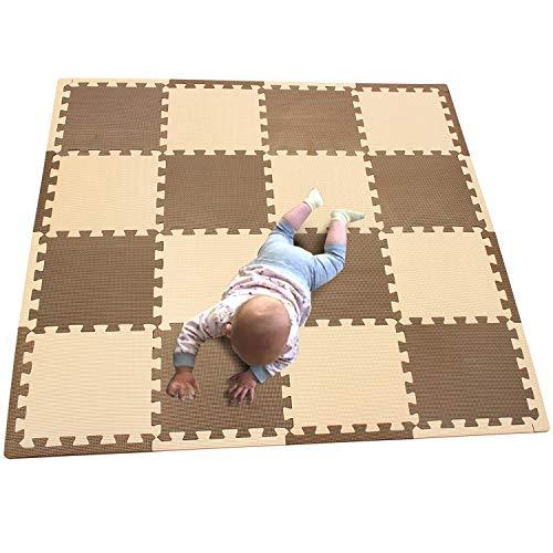 MQIAOHAM 16 Pezzo Tappeto Puzzle Bambini in soffice Schiuma Eva, Tappeto da Gioco per Bambini, Tappetino Puzzle caffè Beige 106110Z16
