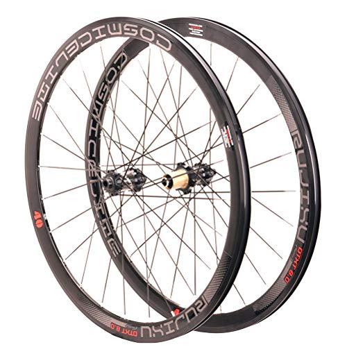700C Rennrad Radsatz Doppelwandige Felgen 40mm Rennradradsatz Zentralverriegelung Scheibenbremse Steckachse 8-11 Geschwindigkeit Kassettennaben 24H (Color : B)