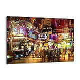 Cuadro sobre lienzo - Impresión de Imagen - Calle luces noche ilustración - 100x70cm - Imagen Impresión - Cuadros Decoracion - Impresión en lienzo - Cuadros Modernos - AA100x70-3199