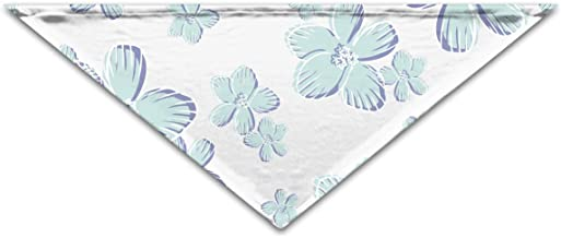 """Grebsw Blue Flower 1 Soft Washable Pet Triangle, 11.8"""" 25.6"""", Suitable for Puppies, Kittens, Rabbits"""