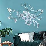 Asvert Spiegel 3D Wandaufkleber Wand Dekoration TV Hintergr& Deko Wandtatoo - Spiegelfläche Blumen