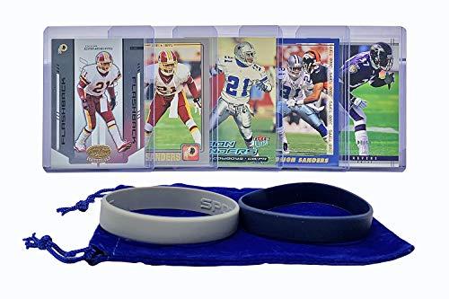 Deion Sanders Football Cards (5) Assorted Bundle - Dallas Cowboys Trading Card Gift Set