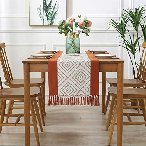 Somotersea Table Runner for Dining Table Chinese Style Splicing Table Runner Handmade Tassel Home Cotton Linen Check Table Runner for Kitchen Dining Decor coral 15x94 inch