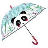 Paraguas Niños 3 4 5 Años Transparente a Cúpula Burbuja - Sombrilla Lluvia Infantiles Detalles Reflectantes Alta Visbilidad - Paraguas Niño Niña Antiviento - Diámetro 64 cm PERLETTI (Panda)