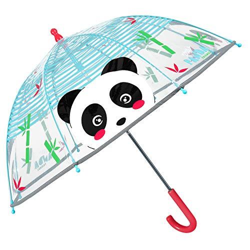 Panda Regenschirm Transparent für Kinder - Durchsichtig Kinderschirm mit Reflektierenden Details und Glasfaser - Kleine Mädchen Jungen Stockschirm für 3/6 Jahren - Durchmesser 64 cm - Perletti