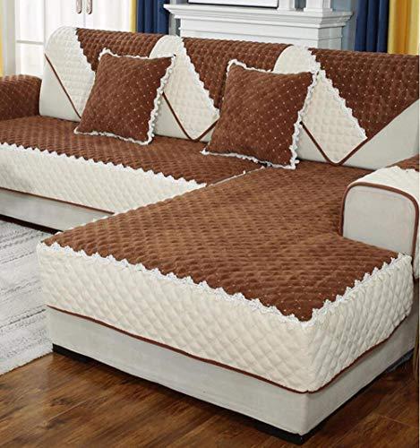 HXTSWGS Cojín de Tela para sofá, Funda de sofá nórdica Antideslizante de Invierno, Funda de Toalla de sofá Gruesa de felpa-A21_110 * 210cm