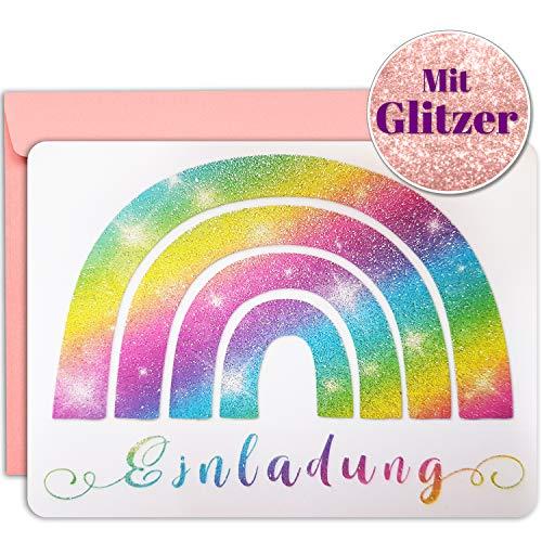 artpin® 10x Glitzer EINLADUNGSKARTEN Kindergeburtstag Regenbogen Mädchen Junge - Einladung zum Kinder Party Geburtstag mit rosa Umschlägen - Karten Bunt P61