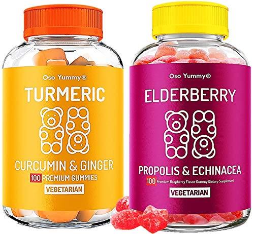 Oso Yummy Immunity Bundle - Turmeric Curcumin & Ginger Gummies + Sambucus Elderberry Gummies for Kids & Adults