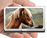 Professional Business Card Holder Stainless Steel,Barbed Wire Landscape mare Pasture Credit Card ID...