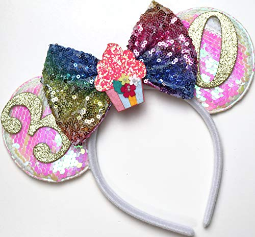 CLGIFT 30th Birthday Minnie Ears Headband, Birthday Minnie Ears, Silver gold blue minnie ears, Rainbow Sparkle Mouse Ears,Classic Red Sequin Minnie Ears (30th Birthday)