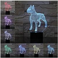 3Dイリュージョンナイトライト ブルドッグ動物 スマートタッチ キッズベッドサイドランプ7色段階的に変化するタッチスイッチ3Dナイトライトキッズ目の錯覚ランプキッズランプギフトのアイデアとして女の子