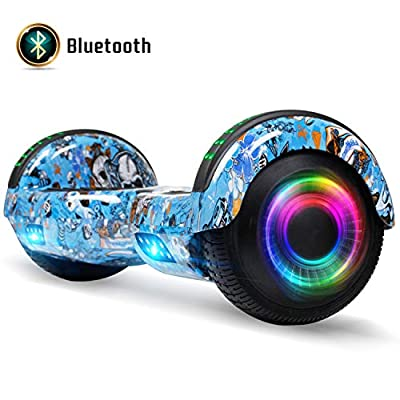 FLYING-ANT Hoverboard for Kids, 6.5 Inch Two Wheels Self Blancing Hoverboard with Bluetooth Speaker and LED Lights-Blue Bull